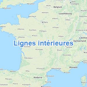 Carte lignes intérieures France